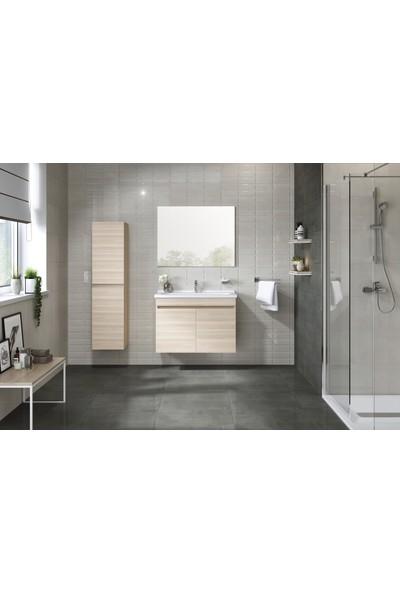 Kale Banyo Krea Banyo Dolabı Takımı (Ayna+Alt Dolap) 65cm Krem Meşe