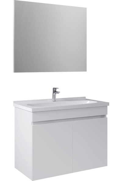 Kale Banyo Krea Banyo Dolabı Takımı (Ayna+Alt Dolap) 80cm Beyaz