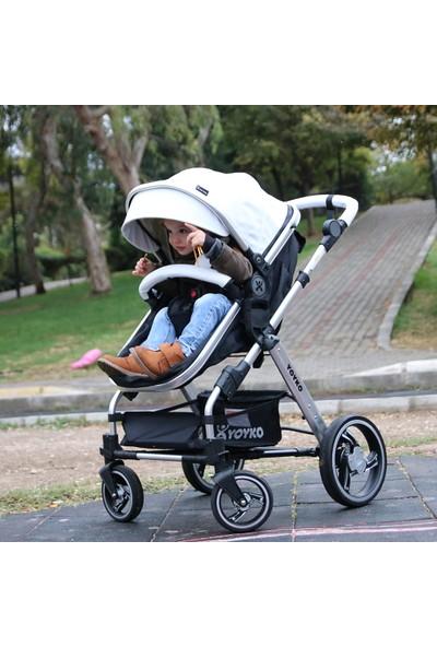 Yoyko Deluxe Travel Sistem Bebek Arabası 3 in 1 Beyaz Silver Deri