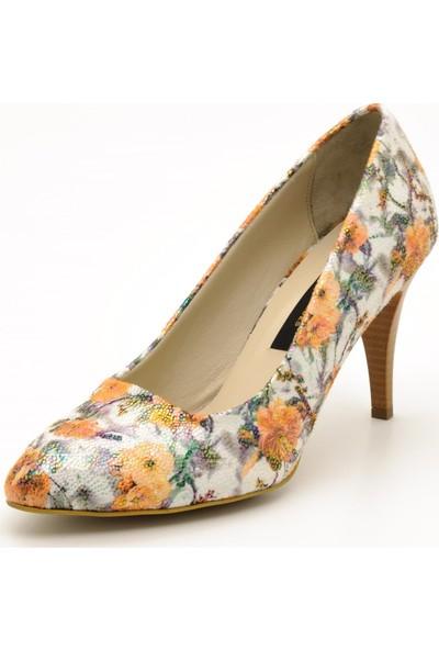 Costo Shoes 1071 PORTAKAL Çiçek Büyük Numara Kadın Ayakkabıları