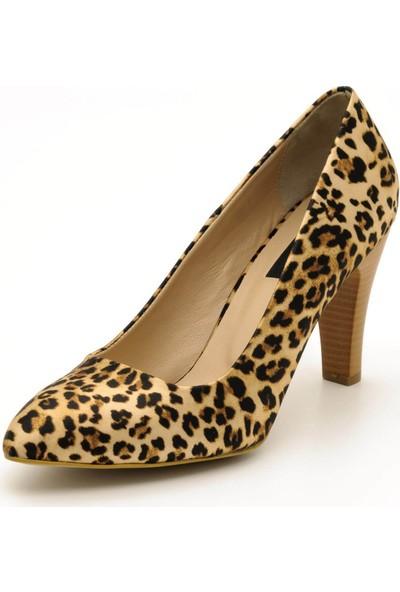 Costo Shoes 1071 Leopar Büyük Numara Kadın Ayakkabısı
