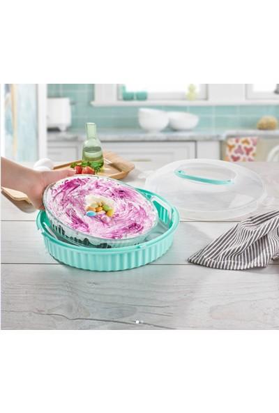 Qlux Pasta Börek Saklama Kabı Fanus Şeklinde Kilitli