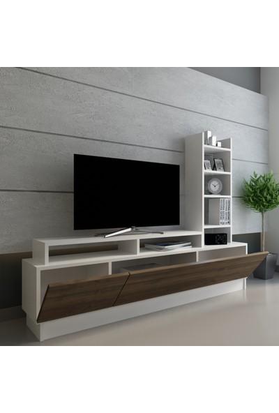 Evmonte - Efes Tv Ünitesi Beyaz Ceviz 1015