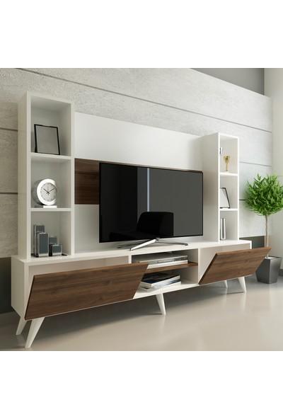 Evmonte - Zirve Tv Ünitesi Beyaz - Ceviz X251