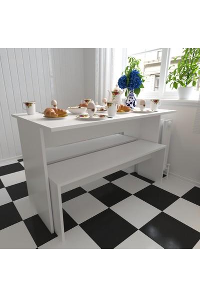 Evmonte İdeal Mutfak Masası + 2 Bank Dahil Beyaz