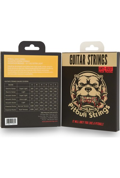 Pitbull Strings Gold Series Gag El Pb Extra Light Takım Tel Akustik Gitar Teli 011-052