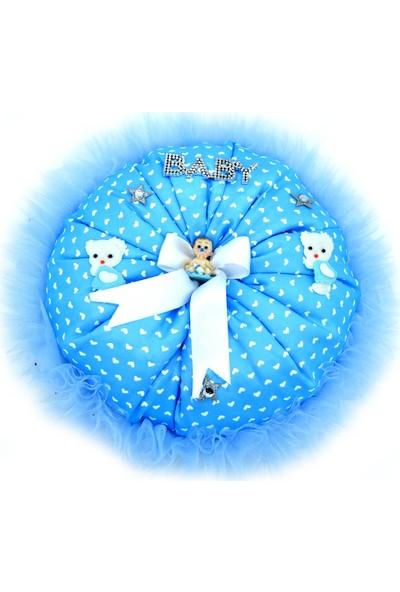 Can Baby Shower Yuvarlak Bebek Takı Yastığı Mavi ( 30cm*10cm)