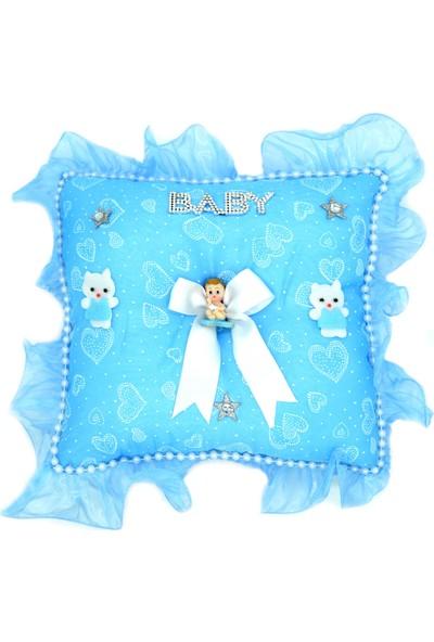 Can Baby Shower Kare Bebek Takı Yastığı Mavi (40cm*40cm*10cm)