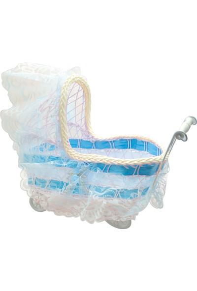 Can Bebek Arabası Puset Şeklinde Tüllü Bebek Sepeti Mavi (30*35*10cm)