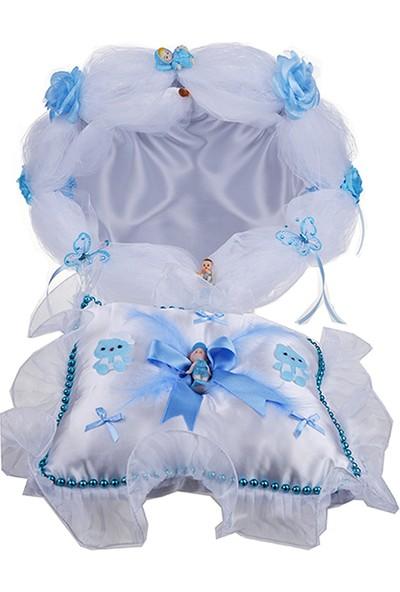 Can Baby Shower Mini Set Sepet ve Bebek Takı Yastığı Mavi