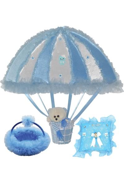 Can Uçan Balon Baby Shower Seti: Kapı Süsü-Sepet-Takı Yastığı Mavi