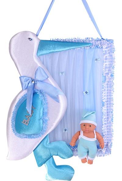 Can Leylek ve Oyuncak Bebekli Çerçeve Bebek Kapı Süsü Mavi (35*40cm)