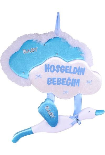 Can Bulutlu Leylekli Baby Shower Kapı Süsü Mavi 45*35cm