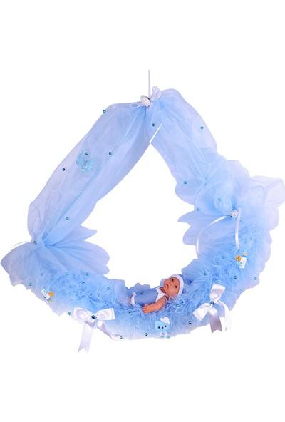 Can Gondol Şeklinde Baby Shower Bebek Kapı Süsü Mavi 30*45cm
