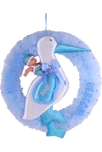 Can Çemberli Leylek Baby Shower Kapı Süsü Mavi 60*62cm