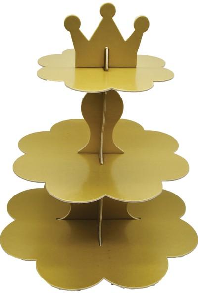 Can Stand 3 Katlı Kral Taçlı Karton CupCake Standı Gold (25cm*40cm)