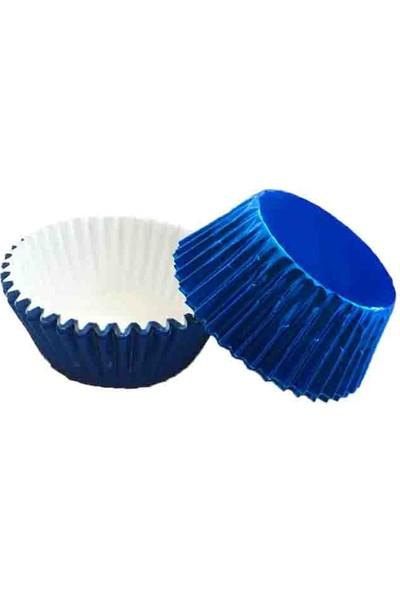 Can Cupcake Kalıbı 60 Adet Metalize Cupcake Kalıpları Mavi ( 7 cm )