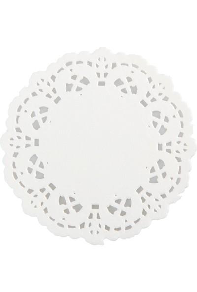 Can Altlık 500lü Kağıt Dantelli Çay Bardak Altlığı Beyaz 12,5cm