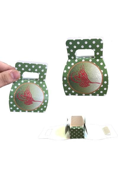 Can Karton Çanta 25 Adet Mevlid İçin Hediyelik Tuğralı Tutmalı Mini Karton Çanta Yeşil ( 8 cm * 6 cm )