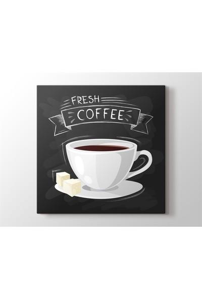 Meteor Galeri Çizimsel Kahve Fresh Coffee Kanvas Tablo