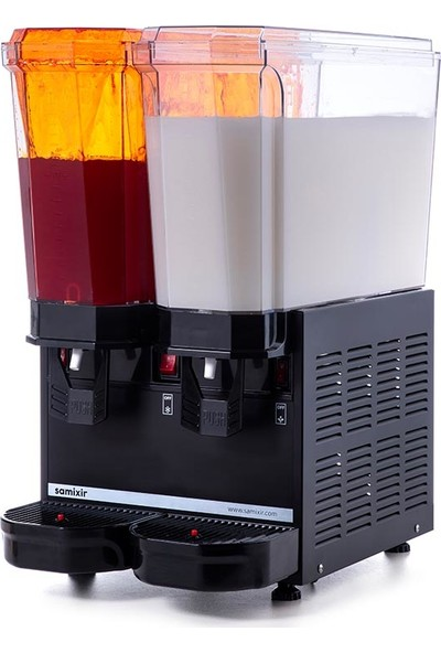 Samixir Klasik Twin Soğuk İçecek Dispenseri, 20+20 L, Fıskiyeli ve Karıştırıcılı, Siyah