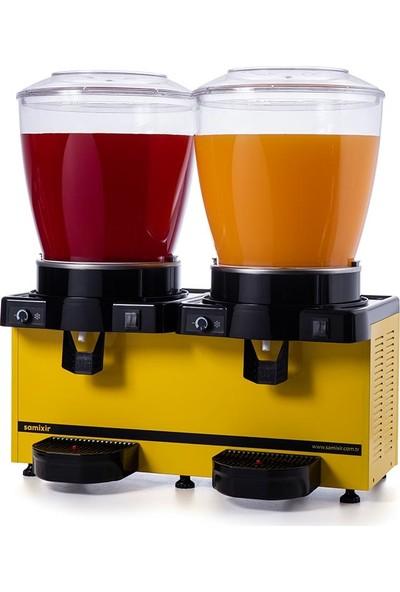 Samixir Twin Soğuk İçecek Dispenseri, 22+22 L, Panaromik, Analog, Karıştırıcılı, Sarı