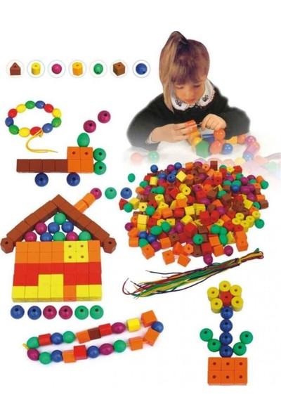 Qıanlı İpe Şekil Ve Boncuk Dizme Oyunu Zeka Oyunları Eğitici Oyuncak