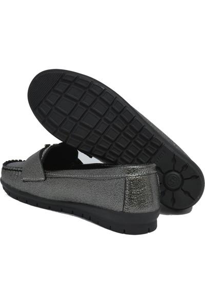 David Jones Kadın Loafer Ayakkabı Kurşun Kırışık
