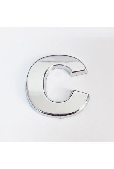 Cemax C Harfi 3,75 cm Krom Yapışkanlı