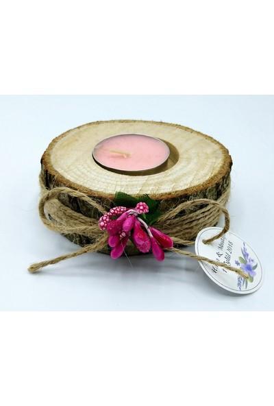 Turunç Tasarım Kütük Mumluk Nikah Nişan Şekeri (30 Adet) Pembe Mum ve Fuşya Çiçekli