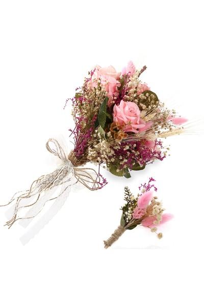 Turunç Tasarım Pembe Gelin El Çiçeği ve Damat Yaka Çiçeği