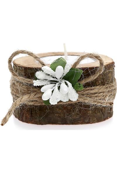 Turunç Tasarım Kütük Mumluk Nikah Nişan Şekeri (30 Adet) Beyaz Mum ve Beyaz Çiçekli
