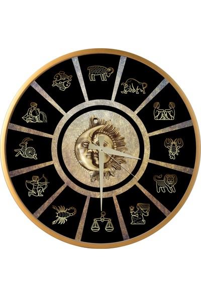 Horoskop Tasarım Ahşap Yuvarlak Duvar Saati 45cm