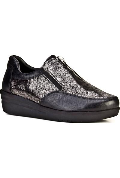 Cabani Önden Fermuarlı Simli Günlük Kadın Ayakkabı Siyah Napa Deri
