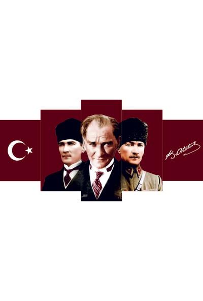 Reticolor Ay Yıldız,Mustafa Kemal Atatürk Ve İmzasının Olduğu Mdf Tablo