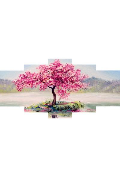 Reticolor Pembe Çiçekli Ağaç Mdf Tablo