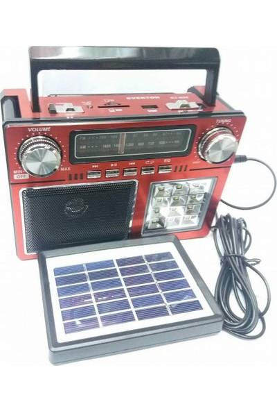 Everton Atasbey - Rt-825 Everton Solar Güneş Panelli 12 Led Işıldak Müzik Kutusu + Fener