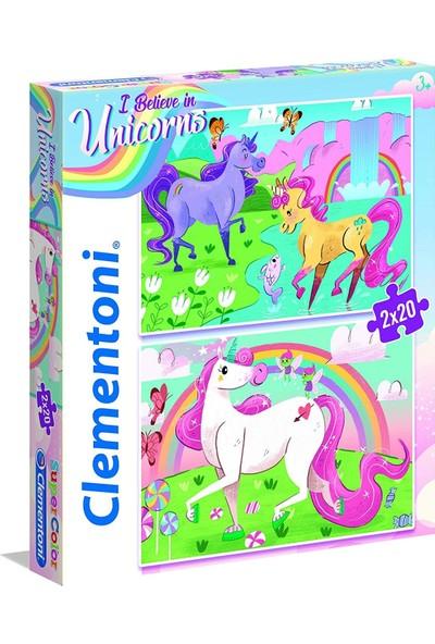 Clementoni 2X20 Parça Puzzle Unicorn - 24754