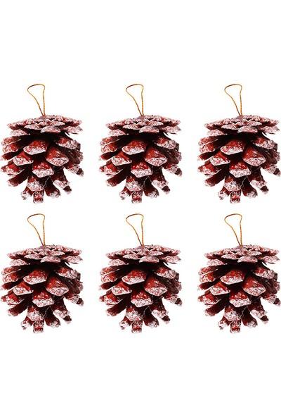 PartiBulutu Yılbaşı Asma Süs Kozalak Kırmızı 4.5 cm