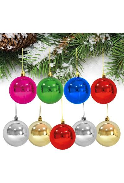 PartiBulutu Yılbaşı Top Ağaç Süsü Renkli 9'lu 3 cm