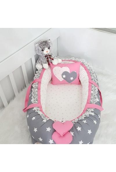 Bebekatölyesi Babynest Koyu Gri Yıldız Pembe Kombin