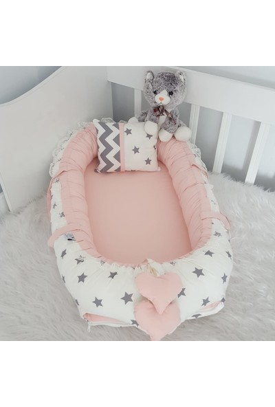 Bebekatölyesi Babynest Beyaz Yıldız Pudra Kombin