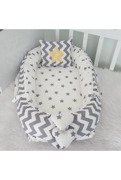 Bebekatölyesi Babynest Gri Zigzag Küçük Yıldız