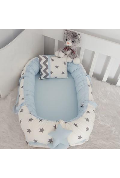 Bebekatölyesi Babynest Beyaz Yıldız Mavi Kombin