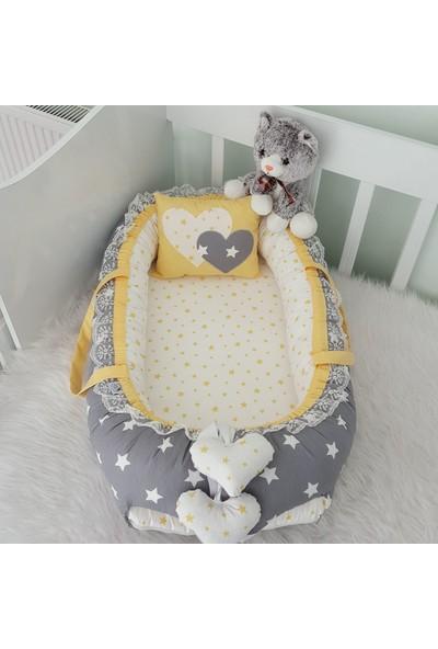 Bebekatölyesi Babynest Gri Büyük Yıldız Sarı Kalp