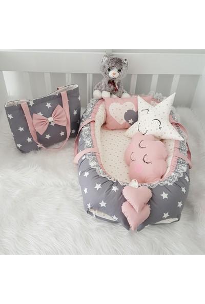 Bebekatölyesi Koyu Gri Yıldızlar Babynest 5 Parça Set