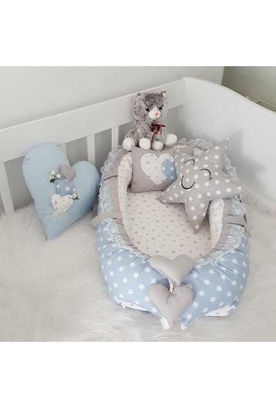 Bebekatölyesi Mavi Yıldızlar Takı Yastıklı Babynest 4'lü Set