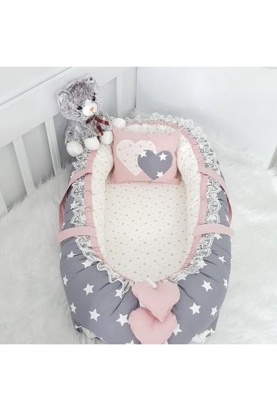 Bebekatölyesi Babynest Koyu Gri Yıldız Pudra Kombin