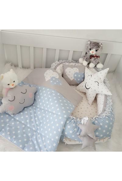 Bebekatölyesi Mavi Yıldız Gri Kombin Babynest 5'li Set