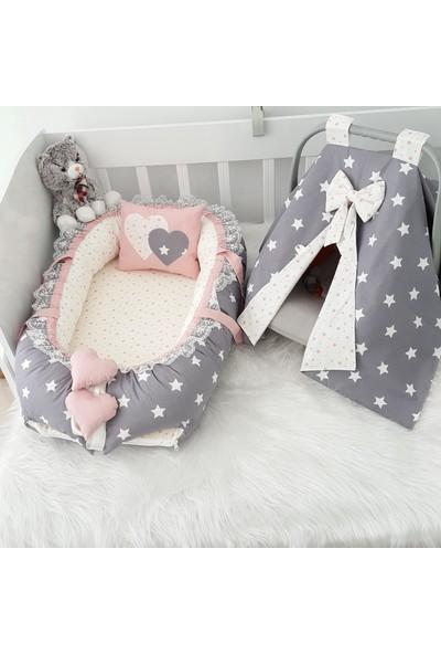 Bebekatölyesi Koyu Gri Yıldız Babynest & Puset Örtüsü